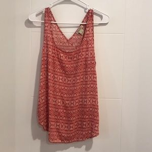 Lucky Brand Sleeveless Red & White Pattern Top